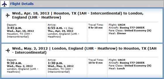 Flight from Houston (IAH) to London (LHR)