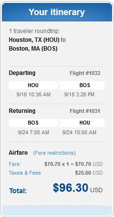HOU to BOS for $96.30