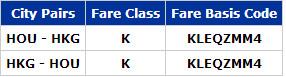 KLEQZMM4 fare basis code