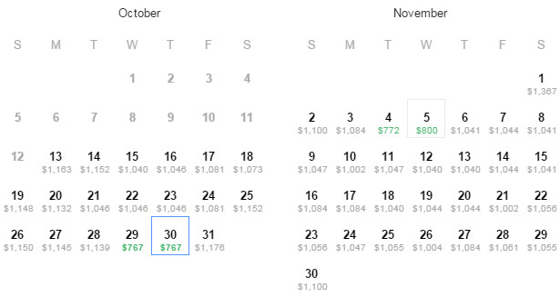 Flight Availability: Austin (AUS) to London (LHR) as of 1:52 on 10/13/14.