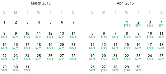 Flight Availability: Houston to Taipei as of 6:29AM on 11/11/14.