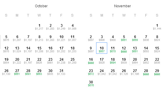 Austin to Barcelona Availability map for Oct - Nov