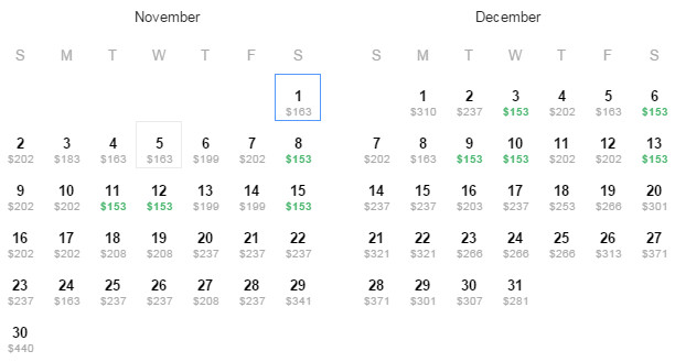 Flight Availability: Houston to Los Angeles as of 10/16/14 on 1:06PM.