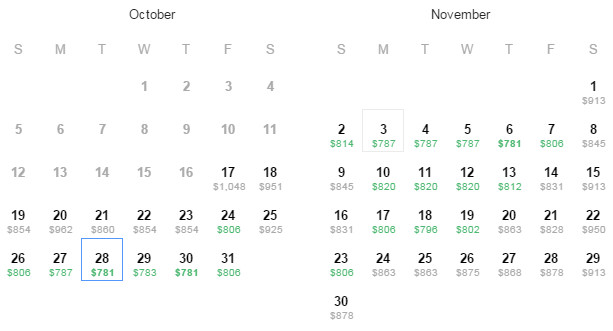 Flight Availability: As of 8:58PM on 10/17/14