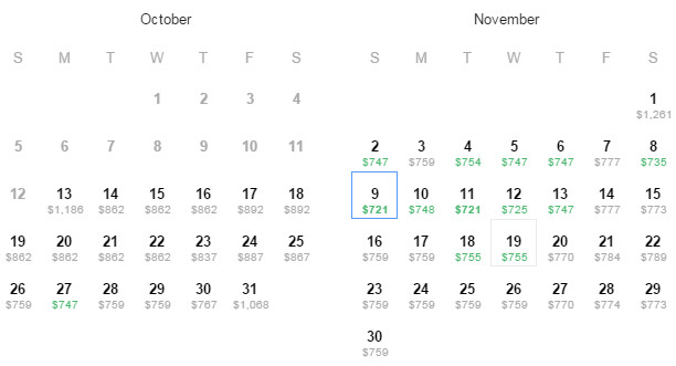 Flight Availability: Houston to London as of 7:57PM on 10/13/14.