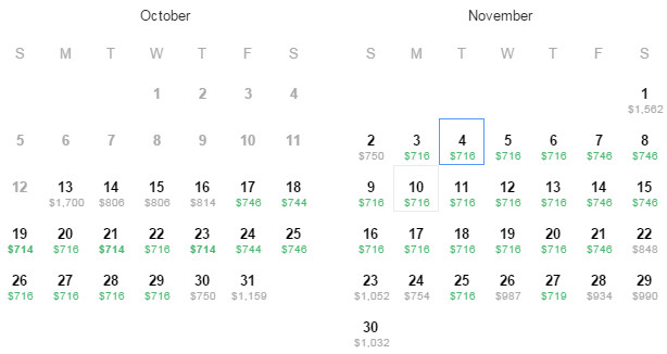 Flight Availability: Houston (IAH) to Paris (CDG) as of 7:30PM on 10/13/14.