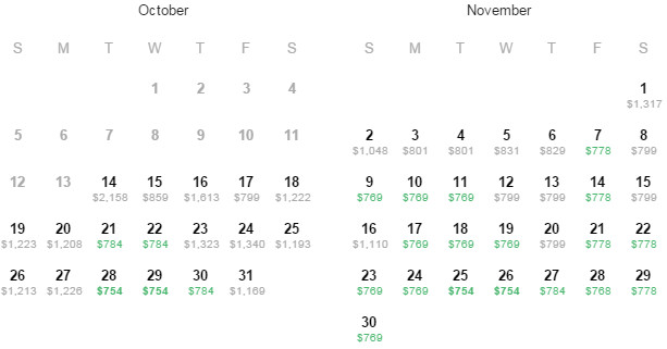 Flight Availability: Houston to Prague as of 12:57PM on 10/14/14