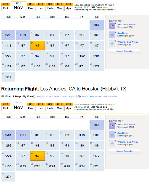 Flight Availability: Houston Hobby to Los Angeles as of 7:37PM on 10/28/14.