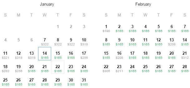 Flight Availability: Houston to Boston as of 1:24 PM on 01/07/2015