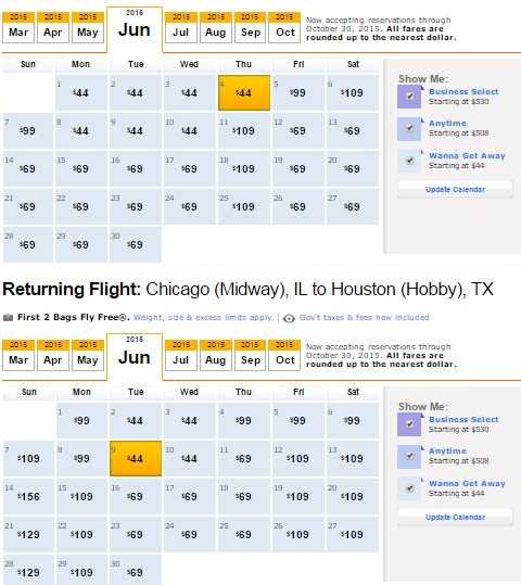 Flight Availability: Houston to Chicago as of 3/10/2015 as of 11:28 Pm.