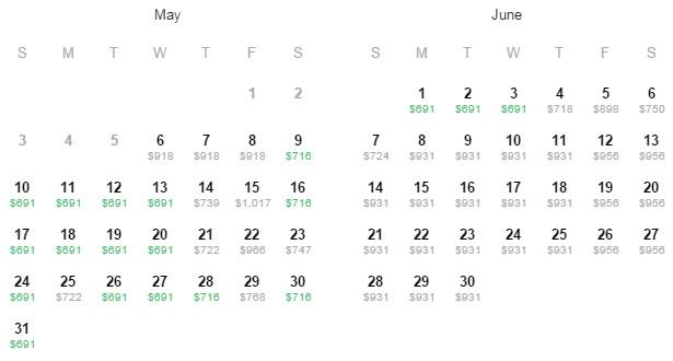 Flight Availability: Houston to Dubai as of 4:46 PM on 5/6/2015.