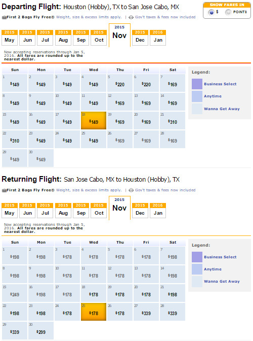 Flight Availability: Houston to Cabo San Lucas as of 7:17 PM on 5/14/15.