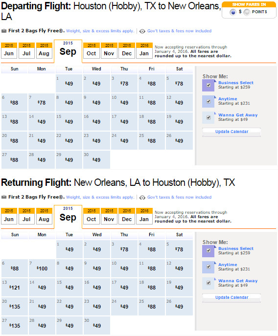 Flight Availability: Houston to New Orleans as of 11:33 AM on 6/2/15.