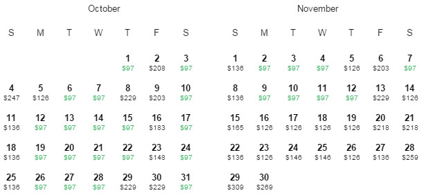 UNITED Flight Availability: Houston to New Orleans as of 12:01 PM on 6/4/15.
