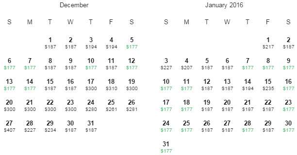 Flight Availability: Houston to Miami as of 2:53 PM on 6/10/15.