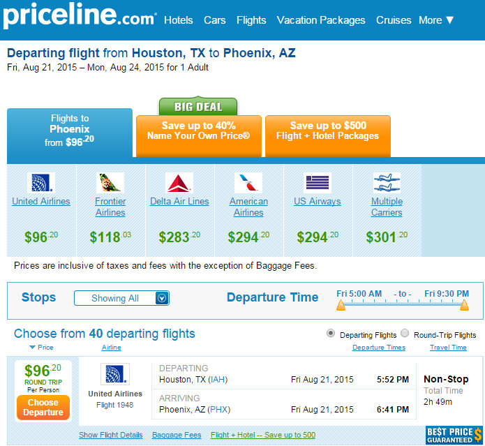 Example booking on Priceline