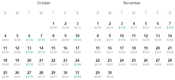 Flight Availability: Houston to Oakland as of 1:46 PM on 8/13/15.