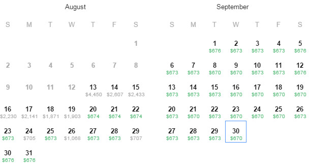 Flight Availability: Houston to Paris as of 10:17 PM on 8/13/15.