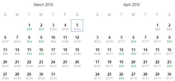 Flight Availability: Departing from Houston to Los Angeles as of 5:48 AM on 10/30/15.
