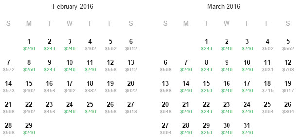 Flight Availability: Returning to Dallas from Hawaii as of 8:00 PM on 11/16/15.