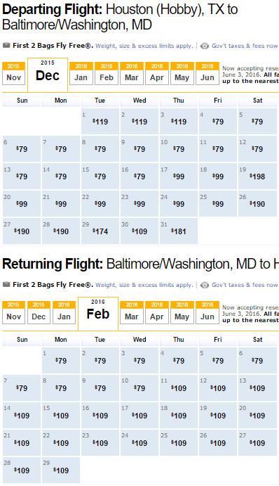 Flight Availability: Houston to Washington / Baltimore as of 2:30 PM on 11/20/15.