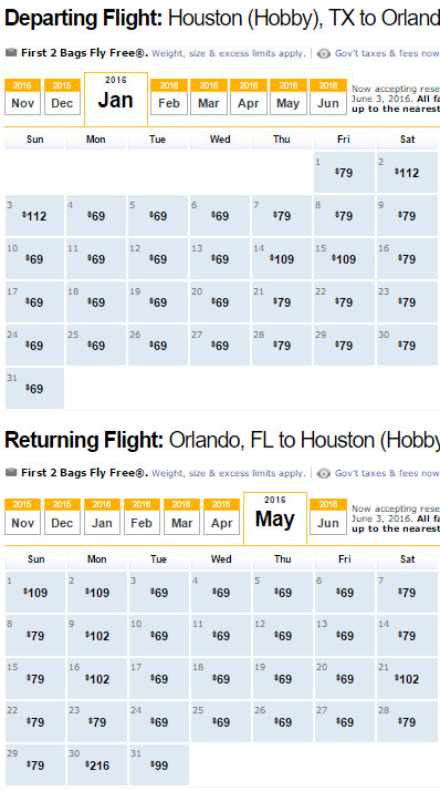 Flight Availability: Houston to Orlando as of 3:00 PM on 11/20/15.