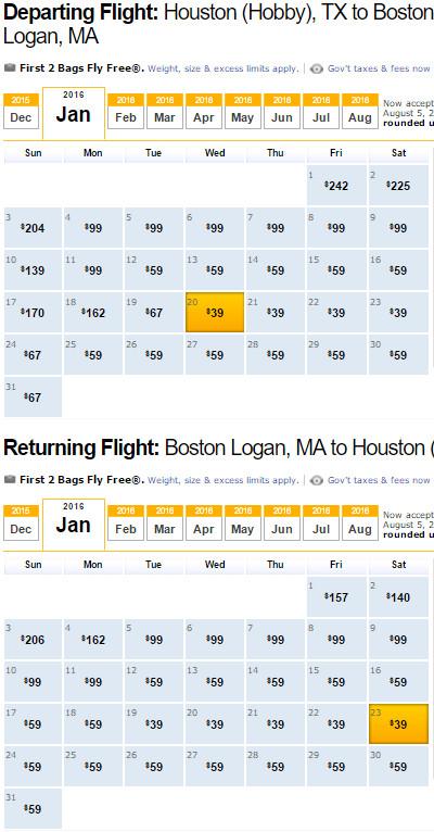 SOUTHWEST Flight Availability: Houston to Boston as of 4:59 PM on 12/22/15.