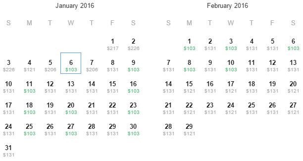 Flight Availability: Departing Houston to Cancun as of 7:35 PM on 12/28/15.