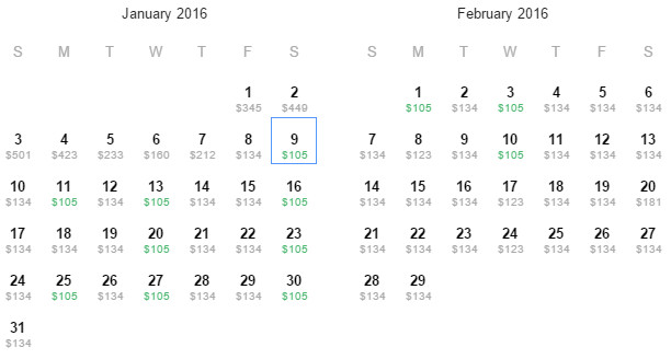 Flight Availability: Returning to Houston to Cancun as of 7:35 PM on 12/28/15.