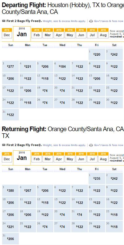 Southwest Flight Availability: Houston to Orange County as of 1:19 PM on 12/12/15.