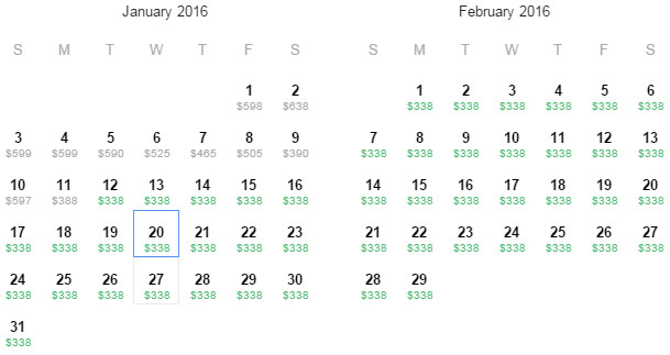 Flight Availability: Houston to Guatemala as of 3:17 PM on 12/24/15.