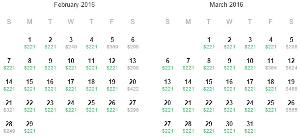 Flight Availability: Houston to Calgary as of 1:59 PM on 12/27/15.