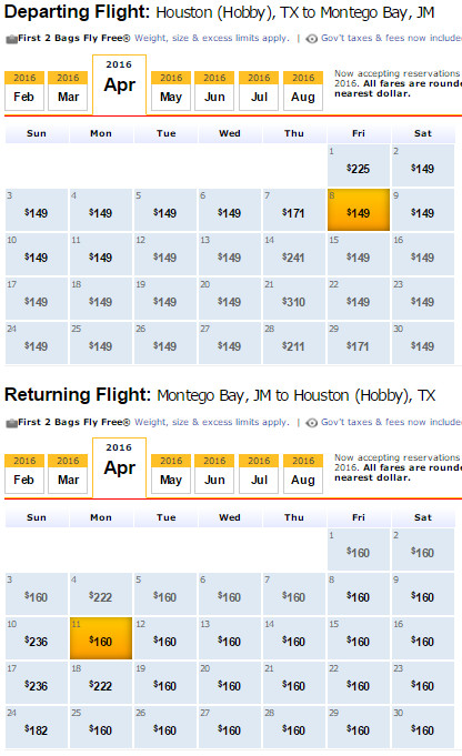 Flight Availability: Houston to Montego Bay as of 8:08 PM on 2/18/16.