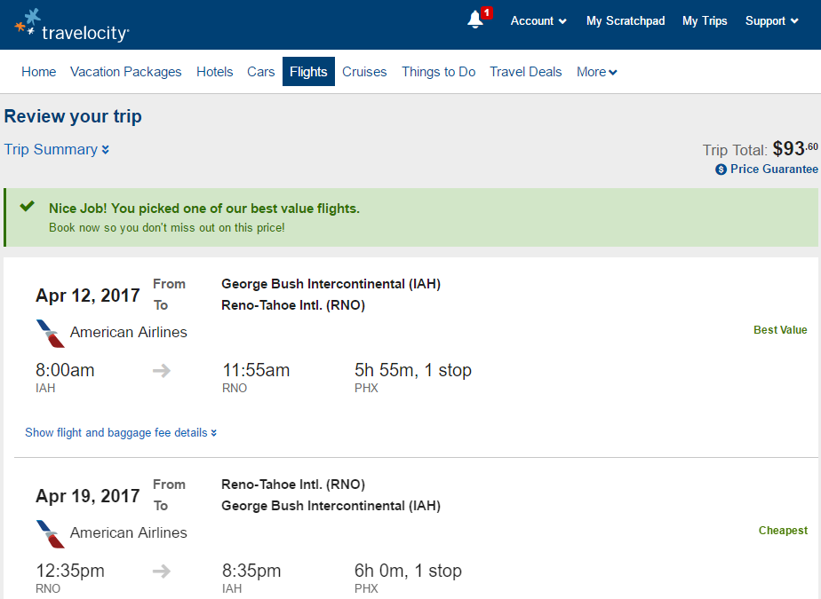 Travelocity Coupon Code >> Cheap Flights: Houston to Reno, NV $94-$134 r/t - American
