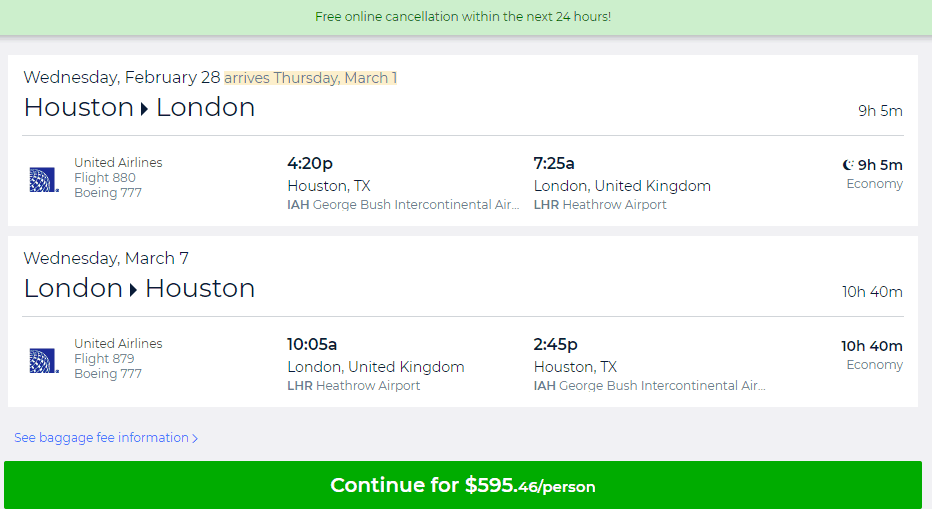 Nonstop Flights Houston To London 545 596 R T United