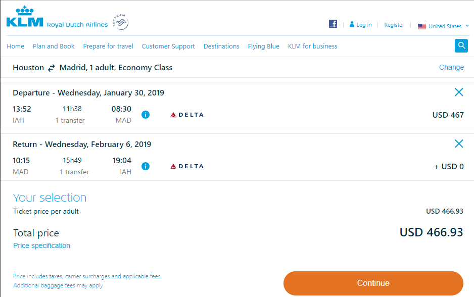 Cheap Flights Houston To Madrid 467 R T Delta Air