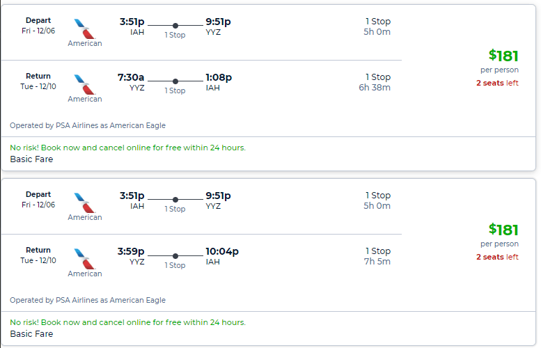 Cheap flights from yyz to iah